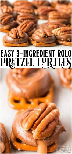 Rolo pretzel turtles are delicious salted caramel pretzel pecan bites that are made in minutes and are perfect holiday treats! ROLO PRETZEL TURTLES Kelly Radtke ellijack ♥ all things yummy ♥ Rolo pretzel turtles are Holiday Desserts, Holiday Baking, Christmas Baking, Holiday Recipes, Holiday Treats, Keto Holiday, Cheap Holiday, Rolo Pretzels, Pretzels Recipe
