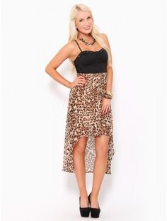 Leopard Spike High Low Dress, Styles for Less.