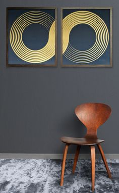 Infinity Diptych, by Lisa Hunt Creative. Screen printed by the artist. Matte metallic gold ink on deep indigo blue paper.