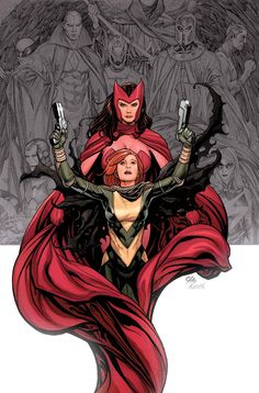 Scarlet Witch & Hope Summers by Frank Cho! Really like the characters in the grey background.