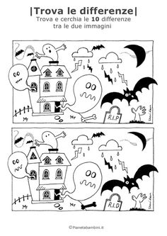 Halloween spot the difference - tricks Halloween Worksheets, Halloween Activities For Kids, Halloween Crafts For Kids, Holiday Activities, Theme Halloween, Halloween Games, Holidays Halloween, Happy Halloween, Adornos Halloween