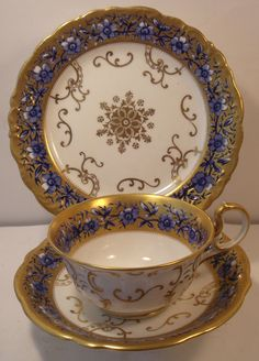 Stunning Aynsley Cobalt And Gilded Cabinet Trio (Cup, Saucer And Side Plate) | eBay
