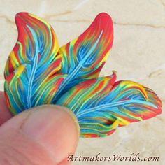 Rainbow parrot feather polymer clay cane | ArtmakersWorlds - Handmade Supplies on ArtFire