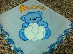 Fralda com ursinho azul