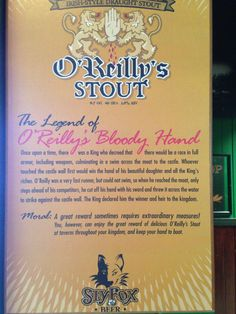 O'Reilly stout sign bloody hand story