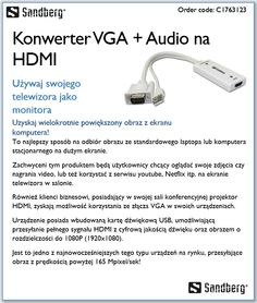 Sandberg - Konwerter VGA + Audio na HDMI w https://eokazje.eu/catalogue/Sandberg_3173