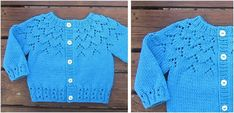Lovely Lace Knitted Baby Cardigan [FREE Knitting Pattern] Put This Lovely Lace Knitted Baby Cardigan On Your Little Onelovely lace knitted baby cardigan Baby Cardigan Knitting Pattern Free, Crochet Baby Cardigan, Chunky Knitting Patterns, Knit Baby Sweaters, Cardigan Pattern, Easy Knitting, Baby Knits, Jumper Patterns, Knitting Projects