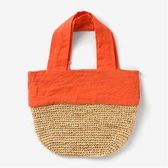 crochet and linen bag