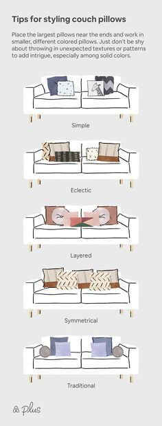 Couch pillows come in all shapes and sizes—literally. That's why we suggest settling on a theme before choosing pillows that will compliment each other. Here are some styles that will make the living room a little more extraordinary. #Simple #eclectic #layered #symmetrical #traditional