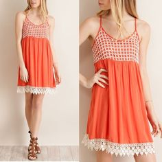 ☀️SALE☀️Coral Boho Sundress Lace Detail It's that time of year again! Backyard BBQs and summer concerts. This solid woven coral slip dress is perfect for both. Pair it with flip flops or cowboy boots. This dress has a basket crochet lace on bodice and edge lace on hem. Delicate yet casual. Lightweight so you will stay cool on these hot summer nights. 100% Rayon. LIMITED QUANTITIES. Cottonwood Clothing Dresses Midi