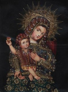 """Andes Madonna Cuzco School Oil Painting On Canvas  16""""H x 12""""W"""