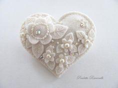 Wool Felt Heart Pin ♥ by Beedeebabee on Etsy, $23.00
