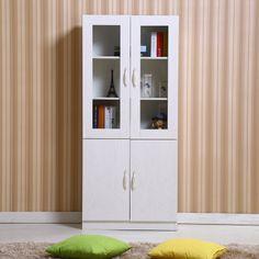 包邮简约自由组合柜子简易玻璃门书橱书架书柜木储物柜带门文件柜-淘宝网