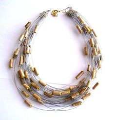 Paper bead and wire necklace