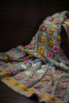 Купить Плед Цветочная поляна Ажурный вязаный хлопок ручная работа в интернет магазине на Ярмарке Мастеров