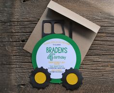 Tractor Birthday Party Invitations by blueenvelope on Etsy, $2.75