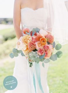 Learn about all of the flowers in this peach and coral bouquet: http://www.stylemepretty.com/2015/05/16/bouquet-breakdown-coral-destination-seaside-wedding/ | Floral Design: Inviting Occasion - http://invitingoccasion.com/