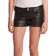 True Religion Joey Low-Rise Leather Shorts ($398) ❤ liked on Polyvore featuring shorts, apparel & accessories, black, true religion shorts, short shorts, zipper shorts, low rise shorts and black short shorts