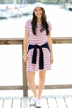 T Shirt Dress Outfits:The College Prepster Dress Outfits, Cool Outfits, Preppy Outfits, Modest Outfits, Prep Style, Striped Dress, Spring Outfits, Short Sleeve Dresses, Outfits