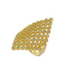 d52f284dd33 Anel folheado a ouro repleto de pedras de zircônia. . Linha completa de  brincos