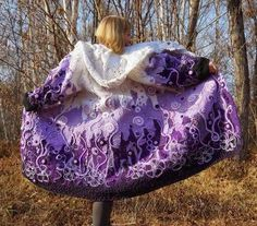 Irish lace, crochet, crochet patterns, clothing and decorations for the house, crocheted. Crochet Coat, Crochet Cardigan, Crochet Clothes, Freeform Crochet, Irish Crochet, Free Crochet, Irish Lace, Purple Fashion, Wearable Art
