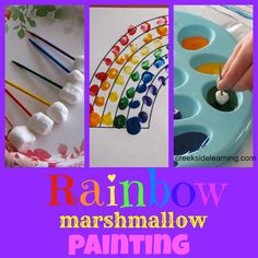Painting rainbows with mini-marshmallows to teach color order.