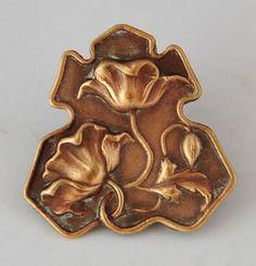Vintage Art Nouveau Brass Button