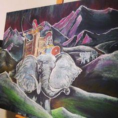Roman History, 6th grade. Hannibal crossing the Alps. By: Robyn Beaufoy Wolfe & Brian Wolfe | Waldorfish | Homeschool | Homeschooling | Waldorf Education | Chalk | Chalk Drawing | Chalkboard | Rudolf Steiner |