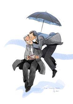 Mycroft be like a cute Mary Poppins [Artist: HAHA on DeviantArt] Sherlock Holmes Bbc, Sherlock Fandom, Watson Sherlock, Sherlock John, Moriarty, Sherlock Kiss, Johnlock, Benedict And Martin, Mark Gatiss