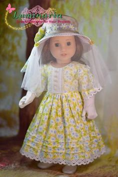 """Beekeeper 18"""" Doll Clothes Pattern Sewing Doll Clothes, American Doll Clothes, Sewing Dolls, Ag Dolls, Girl Doll Clothes, Barbie Clothes, Girl Dolls, Doll Dress Patterns, Clothing Patterns"""