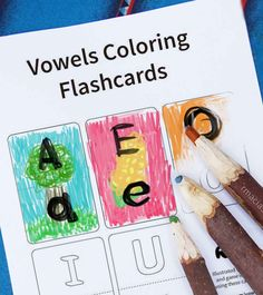 Coloring learning activity for Preschool level kids-  blank flash cards for upper case letters and lower case vowels. They can add their own drawings to the cards using words that are already familiar to them (like their family members' names).  Cut in half to make a puzzle or memory game :)  To see more detailed ideas of games that you can do using this printable, visit: http://rmacias.com/vowels  By Kids activities Designer Rodrigo Macias