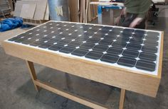 Client works for a solar company and wanted a desk made from a solar panel he had. We worked together and came up with this Mid-Century Modern design … Office Ideas, Office Decor, Door Signage, Blue Raven, Solar Companies, Solar House, Mid Century Modern Design, Solar System, Solar Power