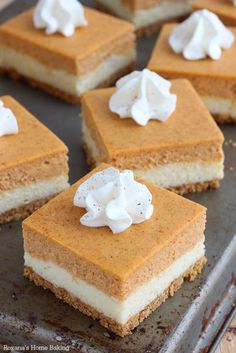 Layers of cheesecake filling and pumpkin puree are finished with a dollop of whipped cream and dash of pumpkin pie spice. Get the recipe at A Treats Affair.
