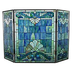 River of Goods Swirling Shells Stained Glass Fireplace Screen - 15047