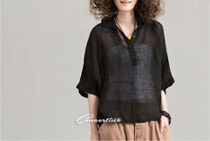 Black loose fitting top