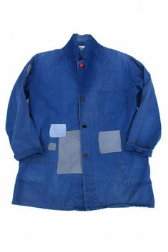 German vintage patched work coat/Germany 1960's/faded blue/patchwork/remake/290