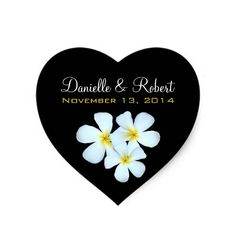 Plumeria Flowers on Black Wedding Sticker