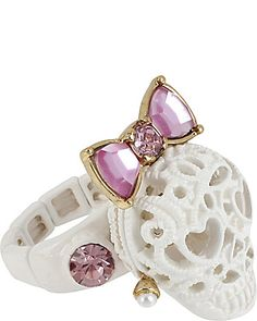 Betsey Johnson - LACE SKULL STRETCH RING WHITE
