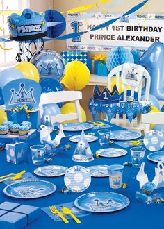 Planing for my son's first birthday. Going for the lil prince theme since he is our little prince (and his sister had the lil' princess theme for her party). It seems fitting that the banner in the back is my son's name!