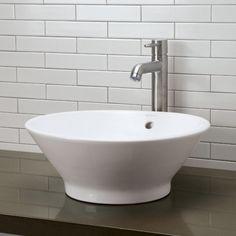 DecoLav D1435CWH Round Ceramic Vessel Vessel Style Bathroom Sink - White at Ferguson.com