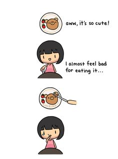 This is pretty much me at every mealtime. 🤭🤭   Who else? 🙋🏻♀️   ~ Rachelle www.bearnakedfood.com/ Penguin Hug, Dear Self Quotes, Cute Potato, Chibird, Relationship Tips, Relationships, Cute Bears, I Feel Good, Happy Planner