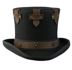 Haut-de-Forme Secret Steampunk haut-de-forme chapeau en feutre de laine (XL/60-61 - noir)