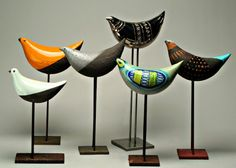 The quintessential mid-century ceramic birds by Aldo Londi for Bitossi, Italy.