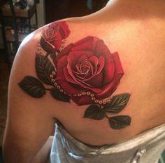 Image result for dark red rose tattoo