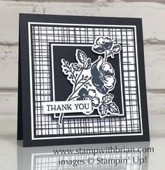 Shaded Summer, Summer Shadows Dies, Blossoms in Bloom, Stampin Up!, Brian King Stampin Pretty, Thanks Card, Square Card, Creative Cards, Flower Cards, Greeting Cards Handmade, Homemade Cards, Stampin Up Cards, I Card
