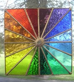 Square Spectrum! Rainbow Chakra Stained Glass Hanging Panel - pewtermoonsilver