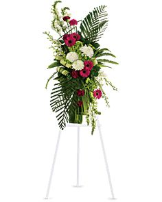 Gerberas and Palms Spray Sympathy Arrangement - Teleflora