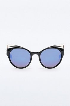 Metal Trim Cat Eye Sunglasses in Black - Urban Outfitters