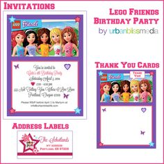 [Party Bliss] LEGO Friends Birthday Party Lego Friends Birthday Party Invitations Thank You Cards Lego Friends Birthday, Lego Friends Party, Birthday Week, Lego Birthday Party, Birthday Cards, Birthday Parties, Lego Parties, Birthday Ideas, Girls Lego Party