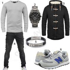 Schwarzes Herrenoutfit mit hellgrauen Sneakern und Pulli (m0797) #jeans #fossil #sneaker #pullover